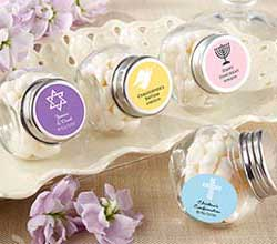 Mini Glass Personalized Favor Jar-Set of 12 (Religious Designs)