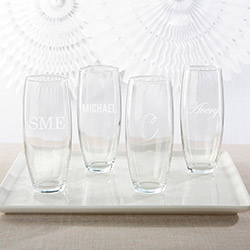 Personalized 9 oz. Stemless Champagne Glass - Engraved